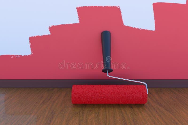 Rummålningbegrepp Måla rullen med röd färg inomhus framförd illustration 3d stock illustrationer