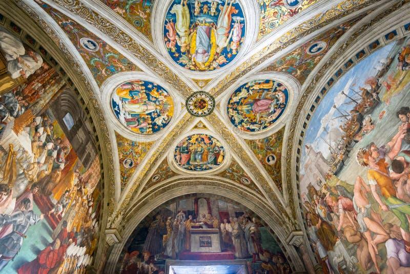 Rummet av branden i Borgoen i Vaticanenmuseet fotografering för bildbyråer