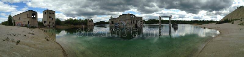 "RUMMU KARJÃ""Ã""R, ESTONIA MAY 2016 - Panorama shot over Rummu quarry, an abandoned Soviet time prison near Tallinn, from the beach stock photo"