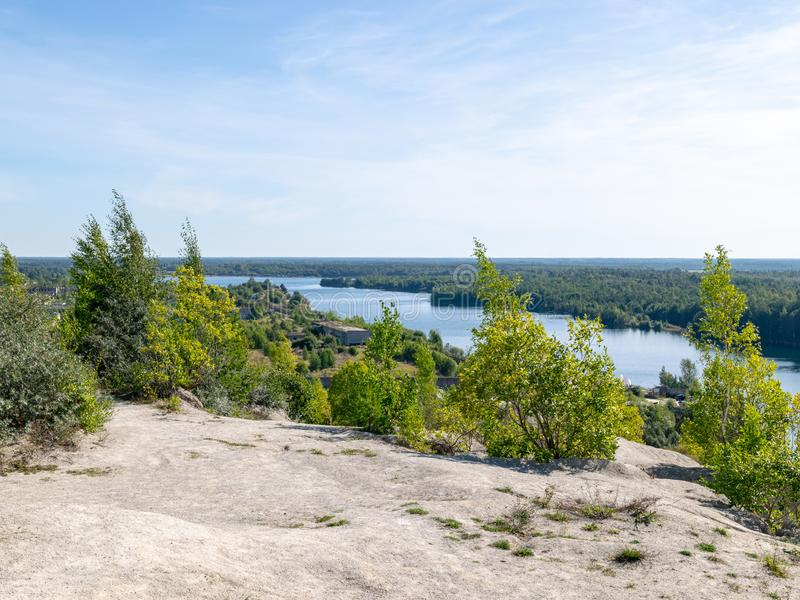 The Rummu quarry is a submerged limestone quarry located in Rummu, Estonia. Much of the natural area of the quarry is under a lake. Formed by groundwater, and stock photography