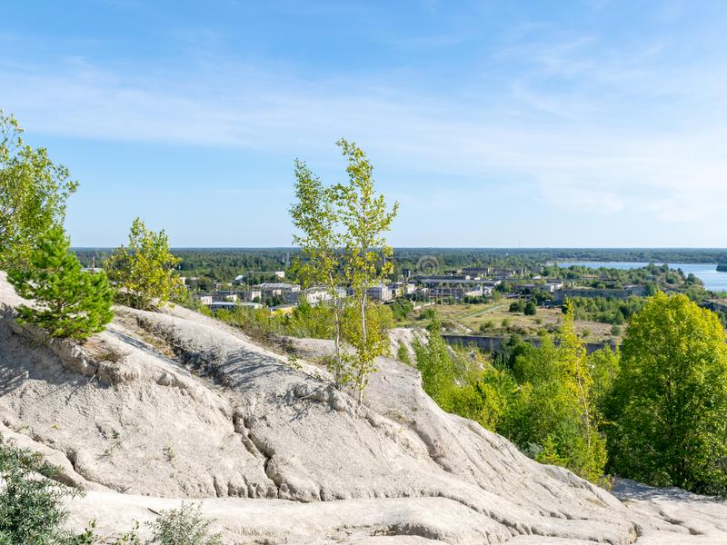 The Rummu quarry is a submerged limestone quarry located in Rummu, Estonia. Much of the natural area of the quarry is under a lake. Formed by groundwater, and stock images