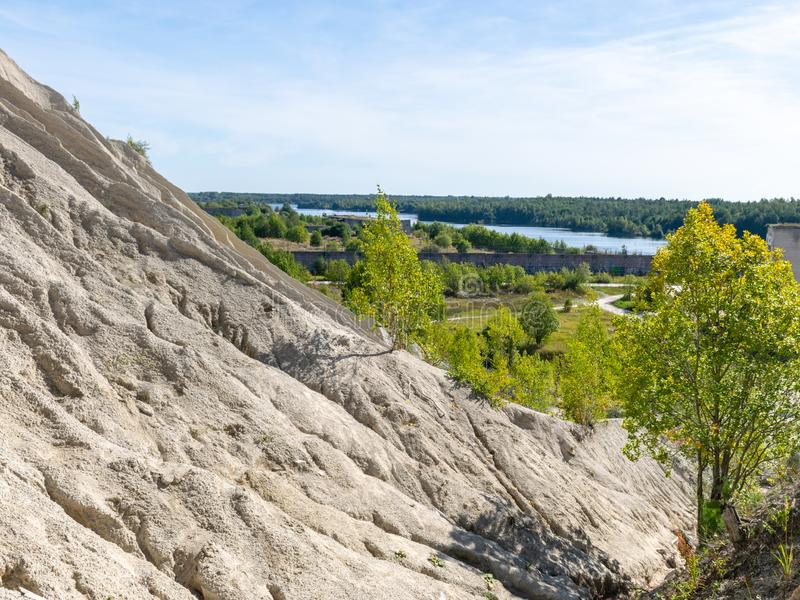 The Rummu quarry is a submerged limestone quarry located in Rummu, Estonia. Much of the natural area of the quarry is under a lake. Formed by groundwater, and stock image