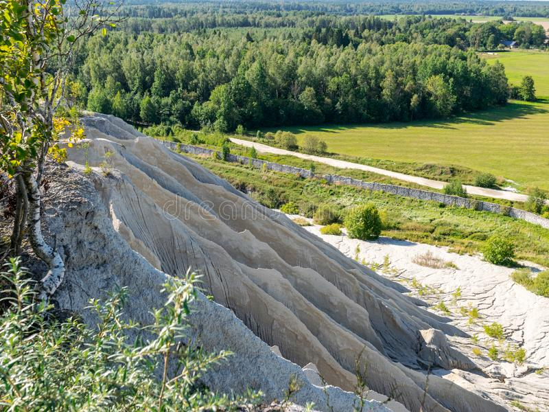 The Rummu quarry is a submerged limestone quarry located in Rummu, Estonia. Much of the natural area of the quarry is under a lake. Formed by groundwater, and stock photos