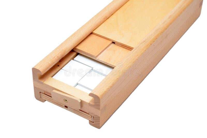 Rummy game wooden box on white stock photos