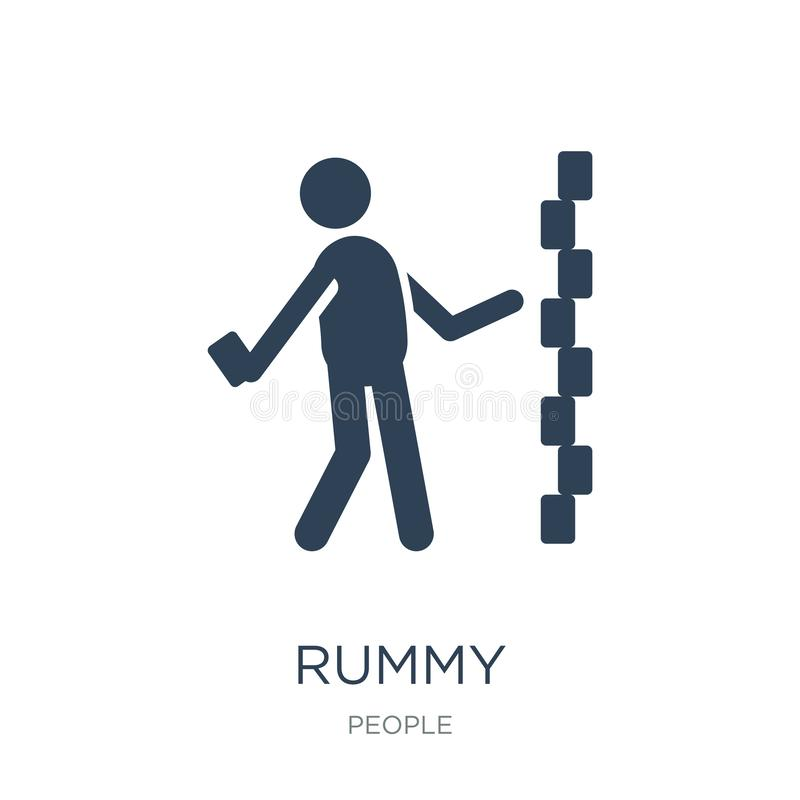 rummypictogram in in ontwerpstijl rummypictogram op witte achtergrond wordt geïsoleerd die eenvoudige en moderne vlakke symbool v royalty-vrije illustratie
