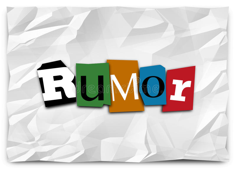 Rumor Cut Out Letters Ransom Note Gossip Lies Misinformation Spreading. Rumor word in cutout letters like a ransom note to illustrate spreading or sharing gossip stock illustration