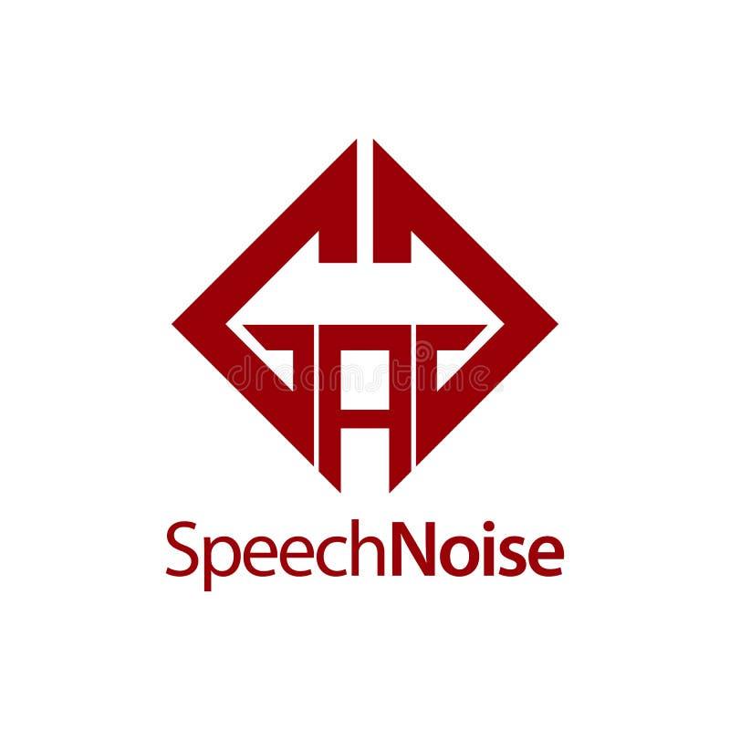 Rumore di discorso Modello quadrato di progettazione di massima di logo del BAVAGLIO della lettera iniziale illustrazione di stock