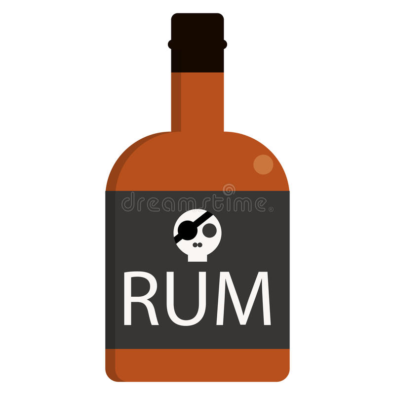 Rumowa butelka alkoholicznego napoju mieszkania ikona royalty ilustracja