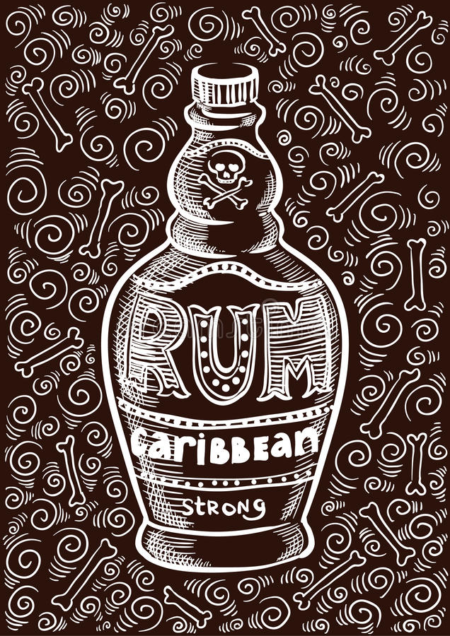Rumowej butelki rocznika projekta retro stara ilustracja ilustracji