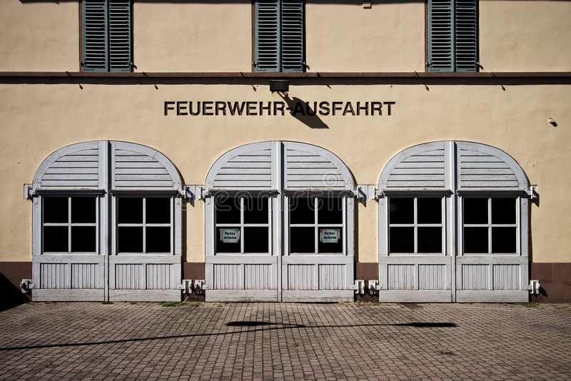 Rumpenheim Firestation. An old firestation (Feuerwehr) in the Offenbach suburb of Rumpenheim royalty free stock photos