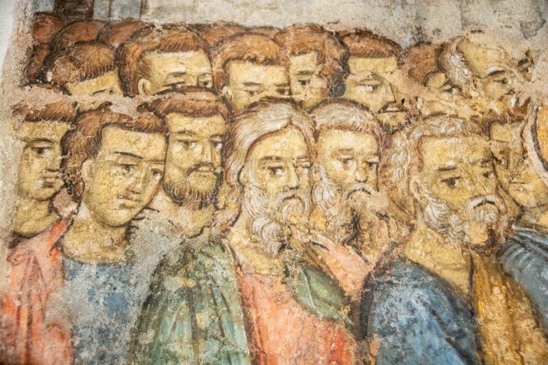 Rumuńscy starzy ortodoksyjnego kościół obrazy z świętymi i archaniołami obrazy stock