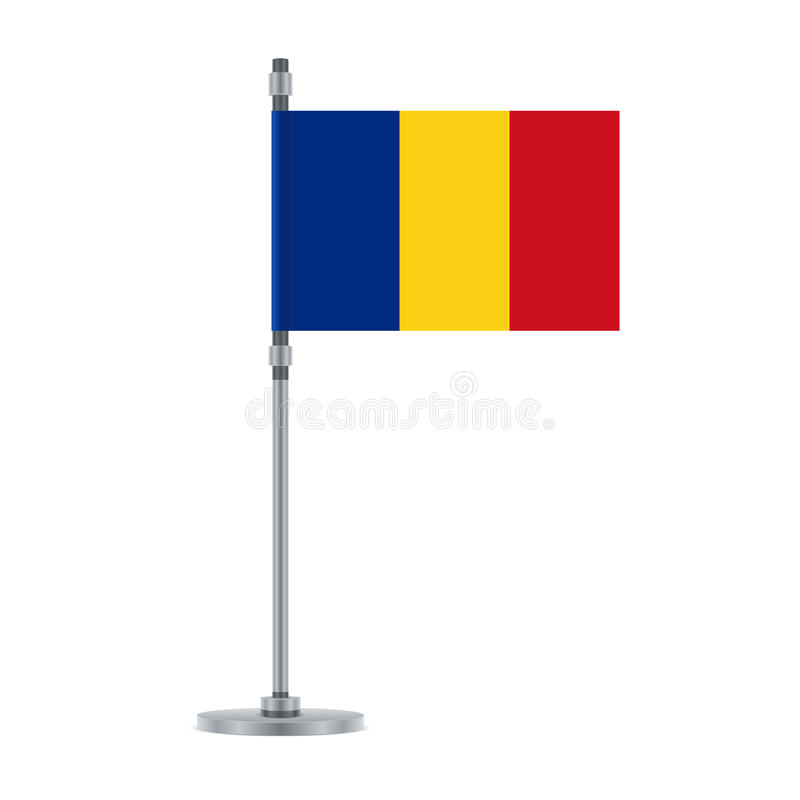 Rumuńska flaga na kruszcowym słupie, ilustracja royalty ilustracja