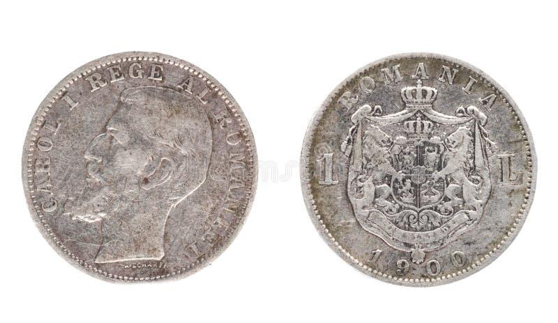 Rumuńska moneta nominalna wartość 1 lei zdjęcie stock