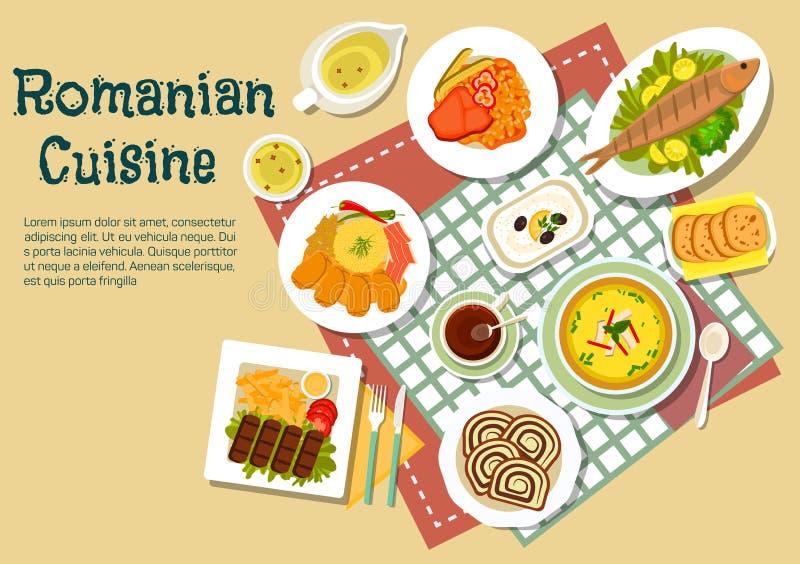 Rumuńska tradycyjna świąteczna naczynia mieszkania ikona royalty ilustracja
