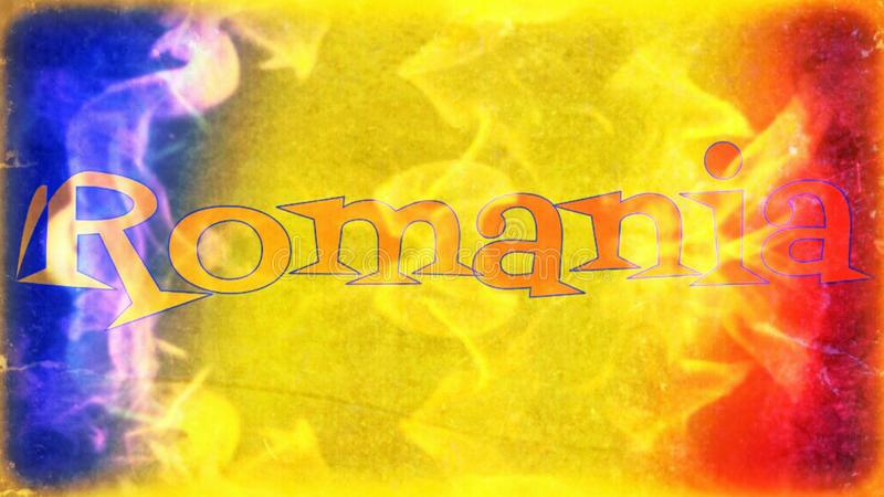 Rumuński chorągwiany sztandar w płomieniach royalty ilustracja
