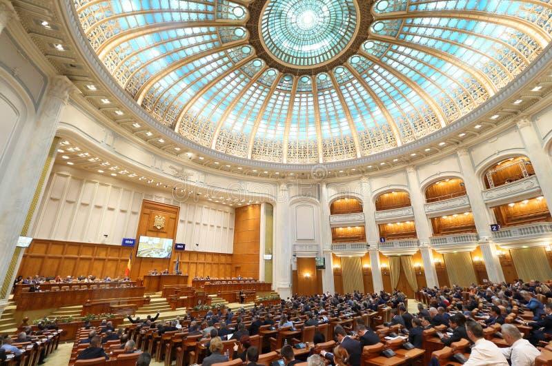 Rumuński parlament - głosować sesji sala delegaci obraz royalty free