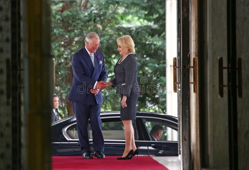 RUMUŃSKI PM WITA CHARLES księ walii PRZY WIKTORIA pałac zdjęcia stock