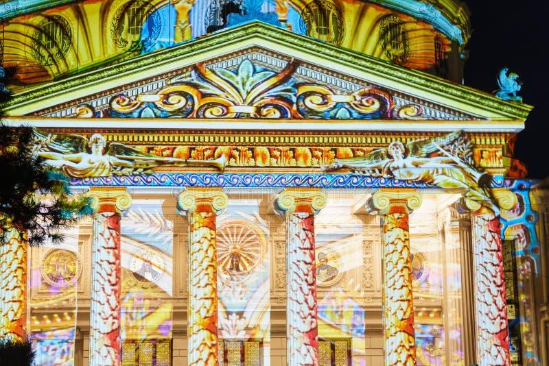 Rumuńskiego Athenaeum Ateneul Romańscy światła Przy nocą Podczas światła reflektorów Bucharest zawody międzynarodowi światła fest zdjęcie stock