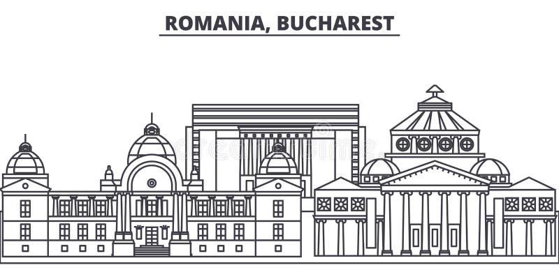 Rumunia, Bucharest linii linii horyzontu wektoru ilustracja Rumunia, Bucharest liniowy pejzaż miejski z sławnymi punktami zwrotny royalty ilustracja