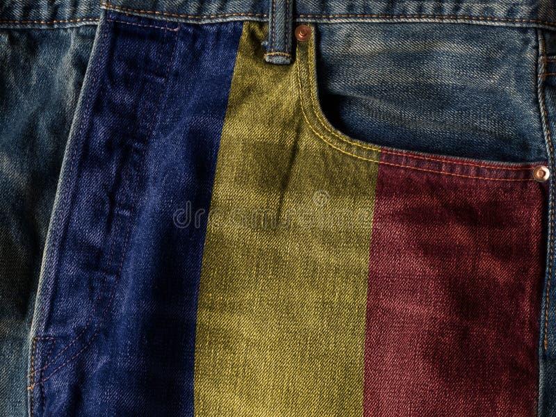 Rumunia flaga Na cajgu drelichu teksturze Pojęcie Rumunia nati zdjęcia royalty free