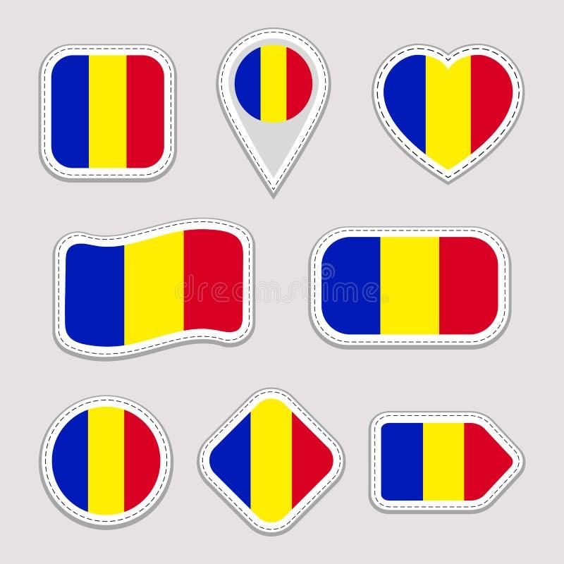 Rumunia flagi majchery ustawiający Rumuńskie krajowych symboli/lów odznaki Odosobnione geometryczne ikony Wektorowy urzędnik zazn ilustracji