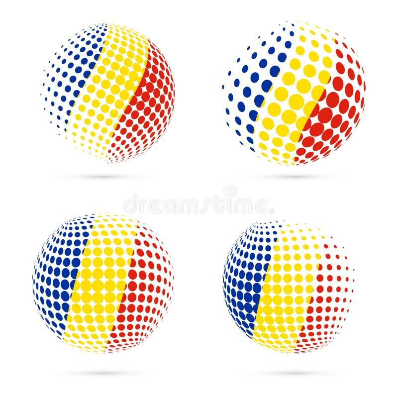 Rumunia halftone flaga ustalony patriotyczny wektorowy projekt royalty ilustracja