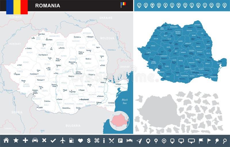 Rumunia - infographic mapa - Szczegółowa Wektorowa ilustracja ilustracja wektor