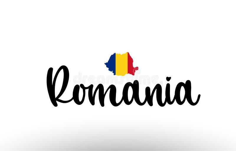 Rumunia kraju duży tekst z flagą wśrodku mapy pojęcia logo ilustracja wektor