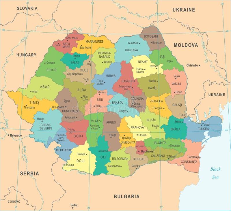 Rumunia mapa - Szczegółowa Wektorowa ilustracja ilustracja wektor