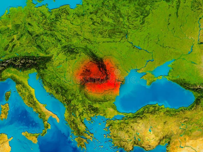 Rumunia na fizycznej mapie ilustracji