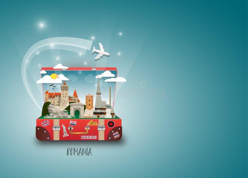 Rumunia punktu zwrotnego podróży I podróży Globalny papierowy tło Vec royalty ilustracja