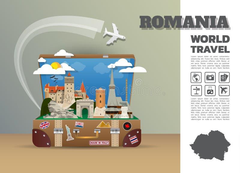 Rumunia punktu zwrotnego podróży I podróży Infographic Globalny bagaż 3 ilustracji