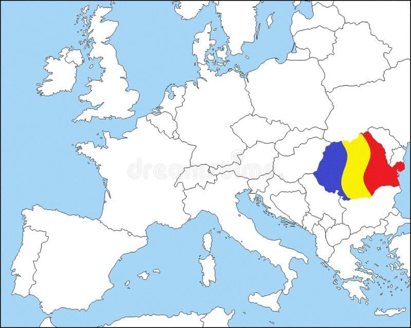 Rumunia w Europa, w kolorach flaga państowowa obrazy stock