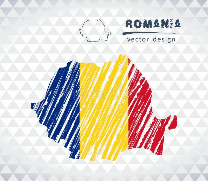 Rumunia wektorowa mapa z flaga inside odizolowywającym na białym tle Nakreślenie kredy ręka rysująca ilustracja royalty ilustracja