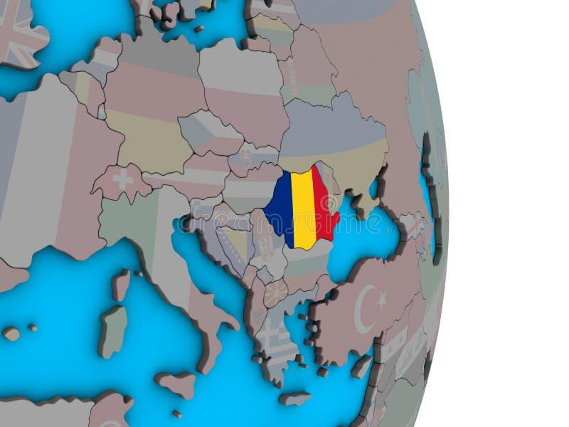 Rumunia z flagą na 3D kuli ziemskiej ilustracji