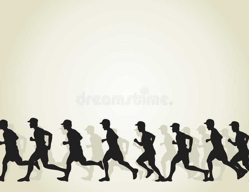 Run. The group of runners runs. A vector illustration royalty free illustration