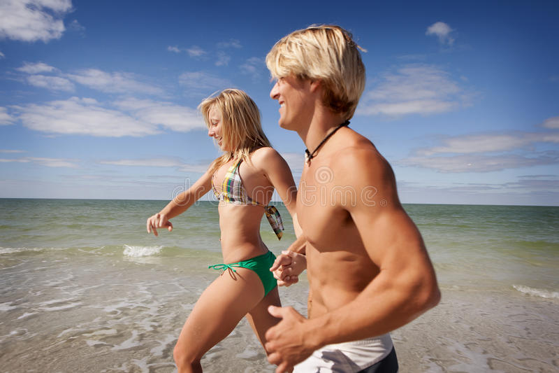 Run at the beach royalty free stock photos