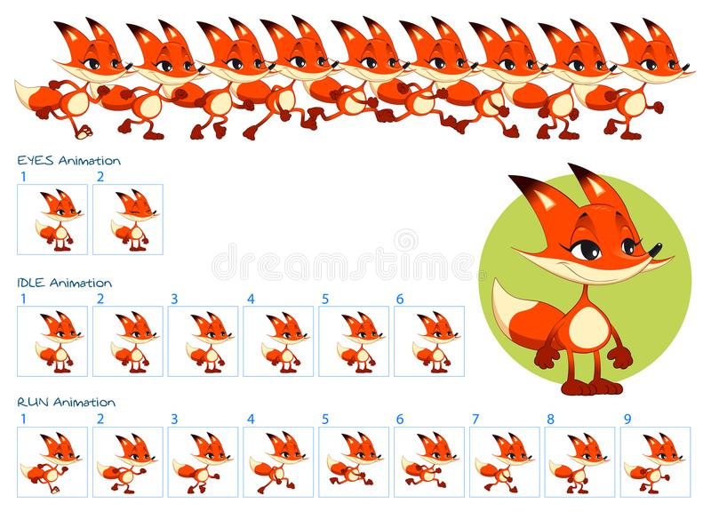 Run, Blinking Eyes And Idle Animations Of Cartoon Fox Character ...