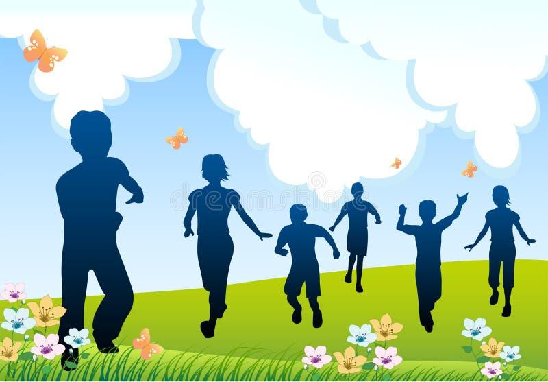 Run children silhouette vector illustration