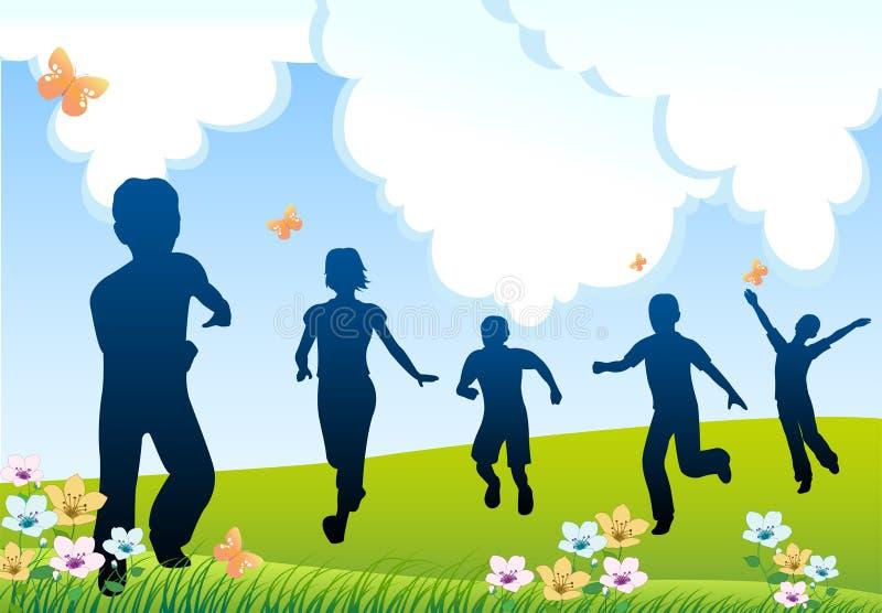 Run children silhouette stock illustration