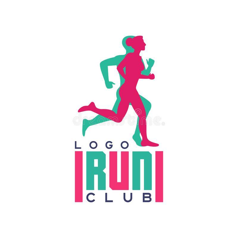 Run club logo, emblem with abstract running people silhouettes, label for sports club, sport tournament, competition. Marathon and healthy lifestyle vector royalty free illustration