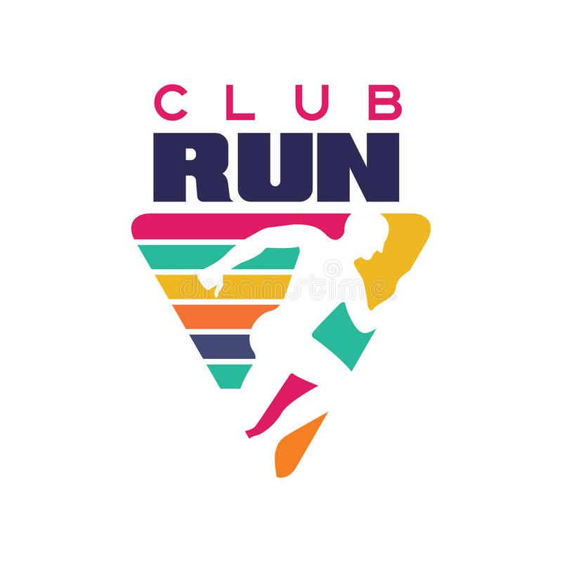 Run club logo template, label for sports club, sport tournament, competition, marathon and healthy lifestyle vector royalty free illustration