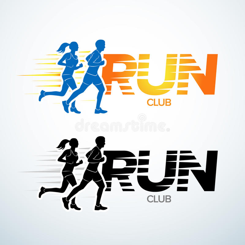 Run club logo template. Sport logotype template, sports club, running club and fitness logo design template. Man and woman. Fitness royalty free illustration