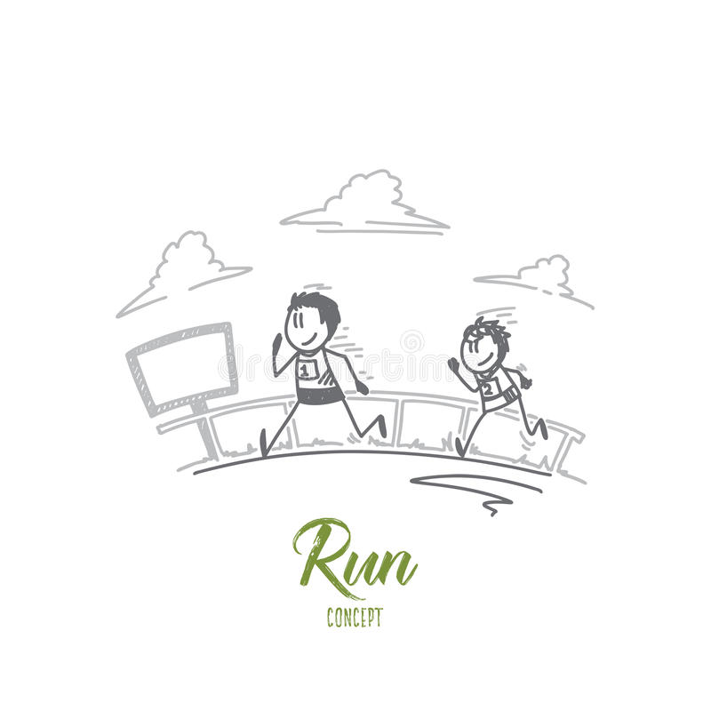 Run concept. Hand drawn isolated vector royalty free illustration