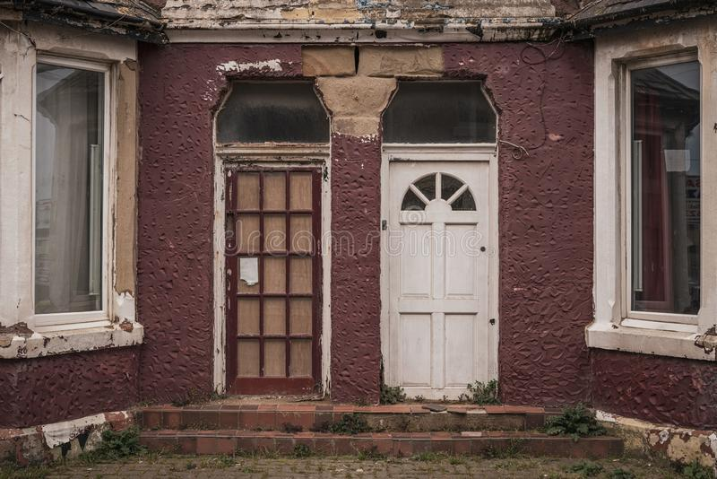 A run down house in Blackpool, England stock photography