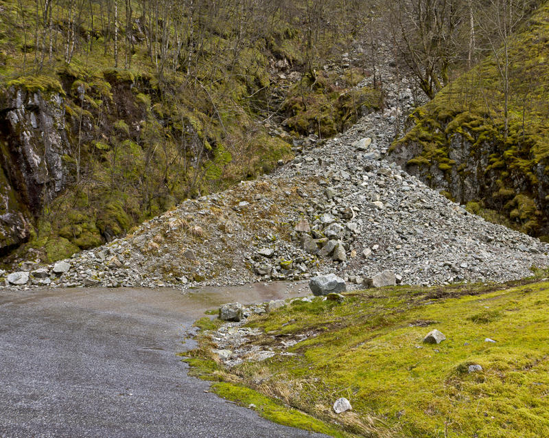 Run-down road in rural landscape. Unused, run-down road in rural landscape with landslide- norway royalty free stock photography
