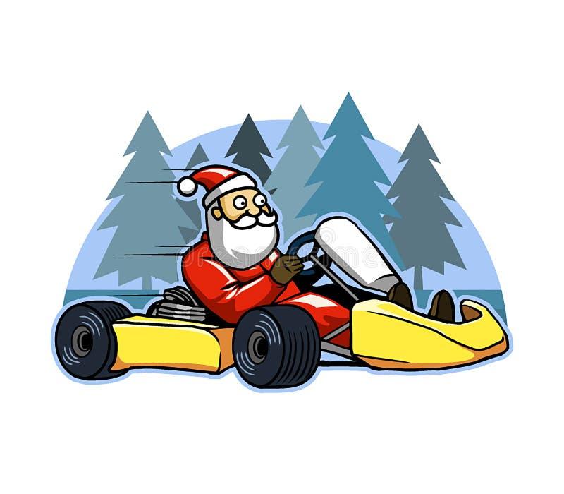 Run Fast Go Karting Santa vector illustration