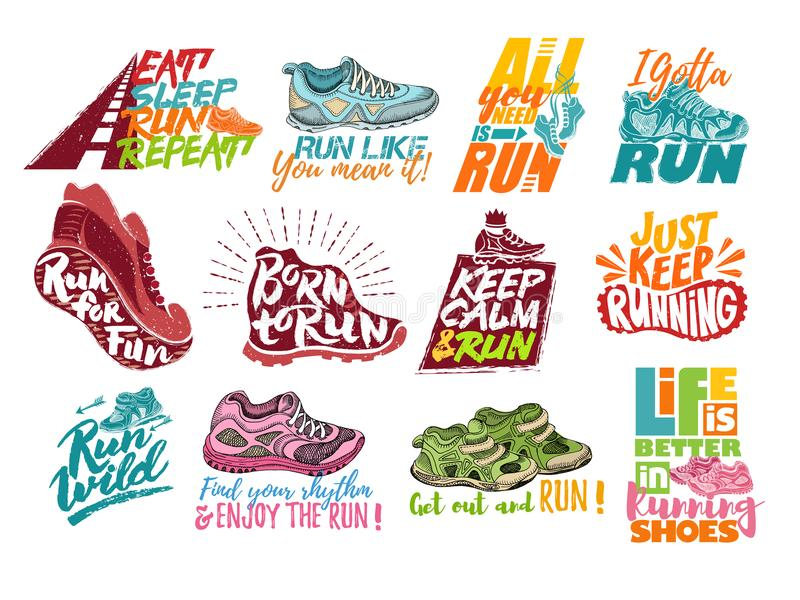 Run lettering on running shoes vector sneakers or trainers with text signs for typography illustration set of runners stock illustration