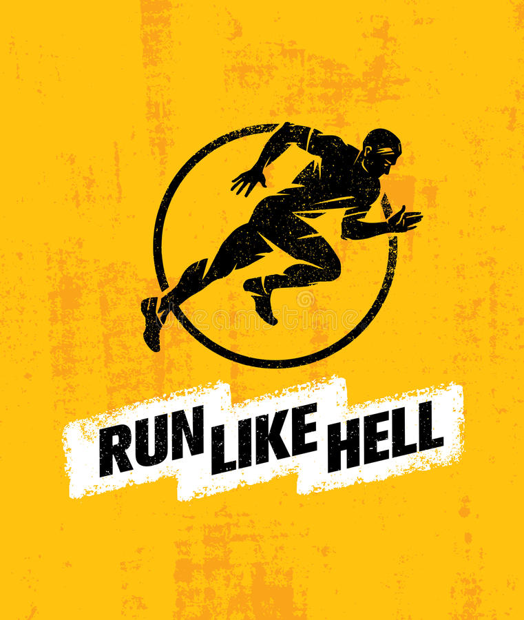 Run Like Hell Creative Sport Motivation Concept. Dynamic Running Man Vector Illustration On Grunge Background vector illustration