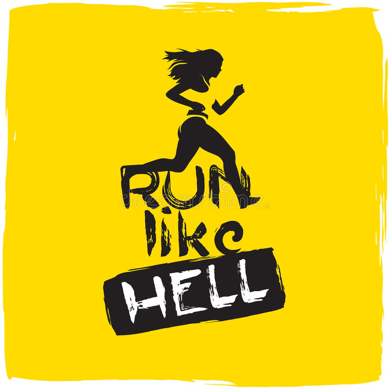 Run like hell. running woman stock illustration